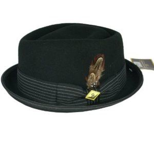 STACY ADAMS Diamond Crown Fedora Hat Black